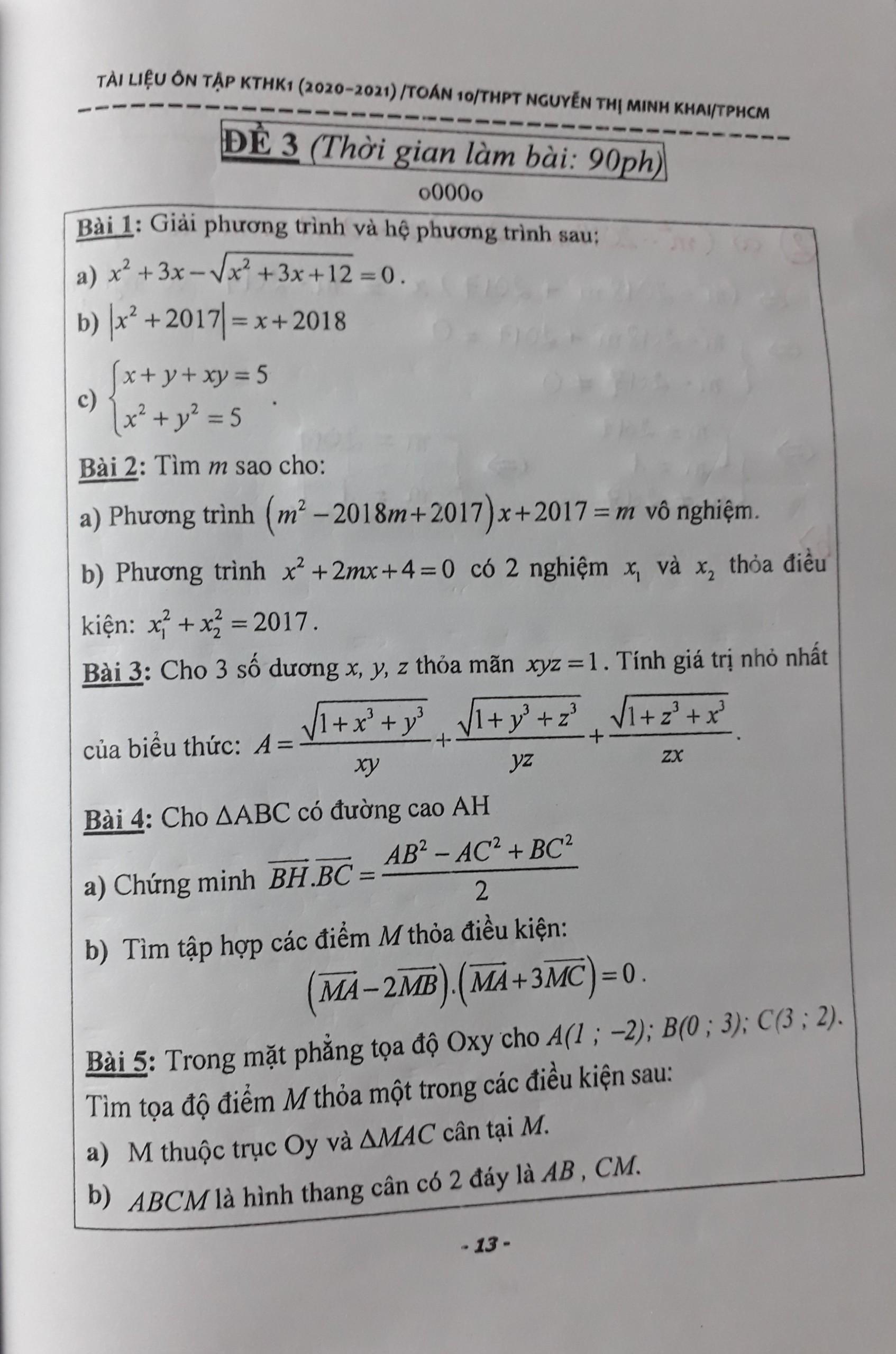 GIẢI ĐỀ CƯƠNG ÔN TẬP TOÁN 10- HỌC KỲ 1- 2020-2021-NGUYỄN THỊ MINH KHAI HCM- ĐỀ SỐ 3
