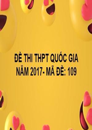 ĐỀ THI THPT QUỐC GIA- TOÁN- MÃ ĐỀ: 109- NĂM 2017