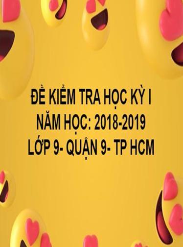 ĐỀ THI HỌC KỲ I- QUẬN 9- TOÁN 9- TP HCM- NĂM HỌC 2018- 2019